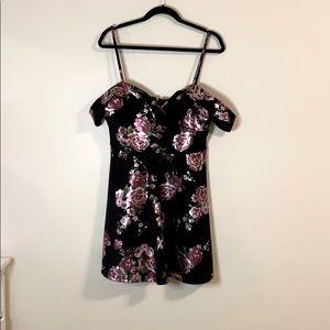 A line off the shoulder black floral dress